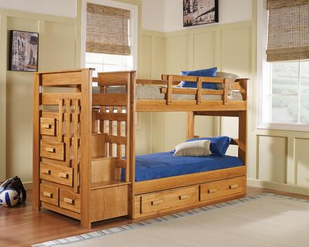 365001-S Twin Over Twin Stairway Chest Bunk Bed with Underbed Storage in