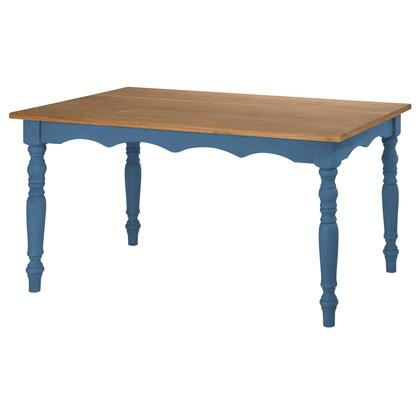 "Jay Collection CS15201 60"" Dining Table with Solid Pine Wood and Crafted Legs in Blue"
