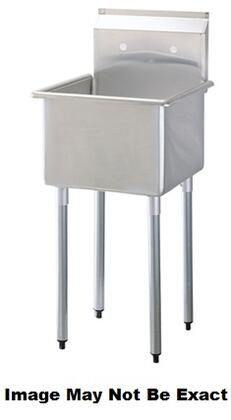 TSA-1MOP 21 inch  Wide One Compartment Sink with Swirl Away Bowl Drainage and Adjustable ABS Bullet Feet in Stainless