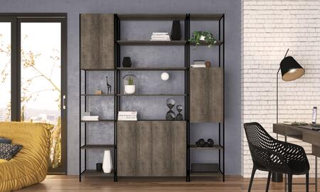 52784WT 3-Pieces Furniture Set with Quadra Bookcase + 2X Narrow Bookcase  in Terrarum