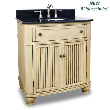 VAN028T 32 inch  Single Sink Vanity with Preassembled Top and Bowl  Two Doors  Single Drawer  Simple Beadboard Doors and Curved Shape in Hand Created Antique