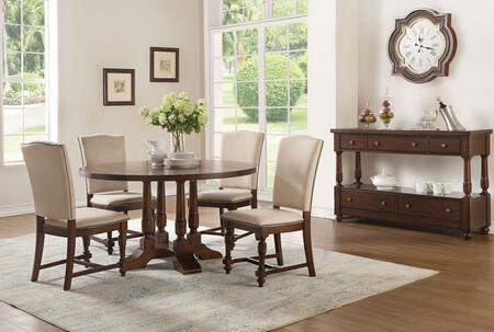Tanner Collection 60835F5SET 6 PC Dining Room Set with Round Shaped Dining Table  Server and 4 Fabric Upholstered Side Chairs in Cherry