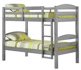 BWSTOTGY Solid Wood Twin over Twin Bunk Bed with Full Length Guardrails and Integrated Ladder in