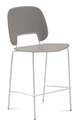 TRAFF.R.A0F.BI.PSA Traffic Stacking Chair with White Lacquered Steel Frame  Polypropylene Back and Seat in Sand