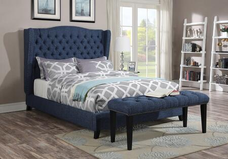 Faye Collection 20880QB 2 PC Bedroom Set with Queen Size Bed + Bench in Blue