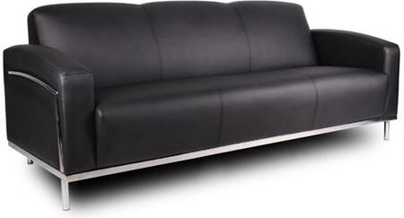 BR99003-BK Sofa with Chrome Frame and Polished Stainless Steel Frame in Black CaressoftPlus