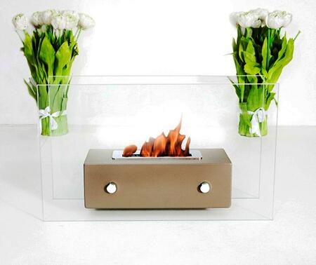 Valetta Collection BB-VABO Tabletop Ethanol Fireplace with 2 Tempered Glass Panels and 1 Linear Burner in