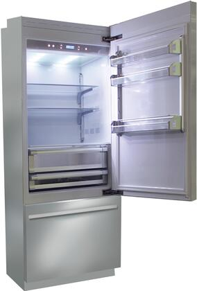 BKI30B-RO 30 inch  Brilliance Series Built In Bottom Freezer Refrigerator with TriMode  TotalNoFrost  3 Evenlift Shelves  Door Storage and LED Lighting: Stainless
