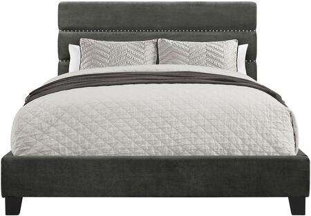 DS-D119-290-524 Horizontally Channeled All-In-One Queen Upholstered Bed with Headboard  Footboard and Frame in Rave
