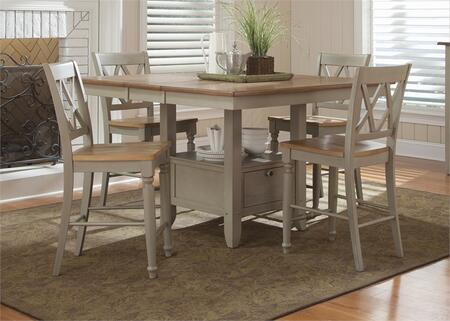 Al Fresco Collection 541-CD-O5GTS 5-Piece Dining Room Set with Gathering Table and 4 Double X Back Counter Chairs in Driftwood & Taupe
