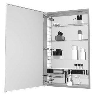 MC2030D4FPLE4 M Series 20 inch  x 30 inch  x 4 inch  Flat Plain Single Door Medicine Cabinet with Left Hinge  Integrated Outlets  Interior Light  Mirror Defogger  and