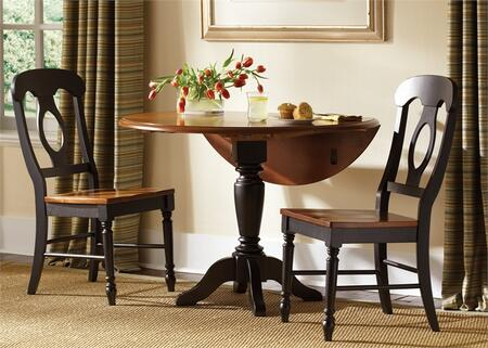 Low Country Collection 80-CD-O3DLS 3-Piece Dining Room Set with Drop Leaf Table and 2 Napoleon Back Side Chairs in Anchor Black Finish with Suntan