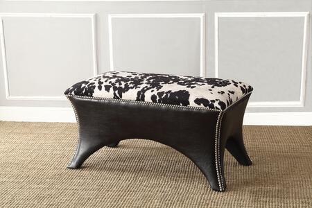 Emalyn 96370 38 inch  Bench with Silver Nail Head Trim  PU Leather and Fabric Upholstery in Black and White