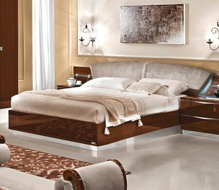 Onda Collection i10468 King Size Bed with Stain Repellant Teflon Technology  Crystal Strip  Made in Italy and Nabuk Eco-Leather Upholstered Headboard in Walnut