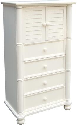 Ice Cream At The Beach Collection CF-1742-0111 30 inch  Chest with Closed Shutter Doors  4 Drawers  Decorative Pilasters and Bun Feet in Antique White and