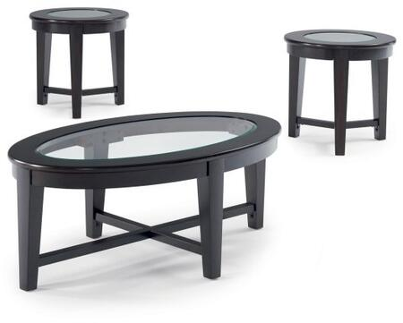 Stansall Collection 701511 3 PC Living Room Table Set with Tempered Glass Inlay  X Shaped Stretcher  Oval Shape and Tapered Legs in Cappuccino