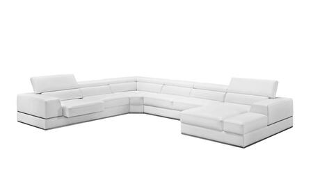Divani Casa Pella Collection VGCA5106-WHT 159 inch  4-Piece Italian Leather Sectional Sofa with Left Arm Facing Sofa  Corner  Armless Loveseat and Right Arm Facing