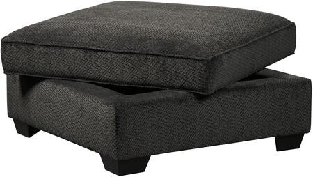 Charenton Collection 1410111 41 inch  Ottoman with Hidden Storage Compartment  Textured Fabric Upholstery and Pipe Stitching Detail in