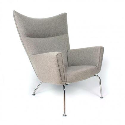 Hoffman FB9788WHEAT Lounge Chair with Stainless Steel Legs  Track Arms and Fabric Upholstery in