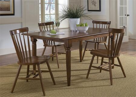 Creations II Collection 38-CD-5BLS 5-Piece Dining Room Set with Butterfly Leaf Table and 4 Copenhagen Side Chairs in Tobacco
