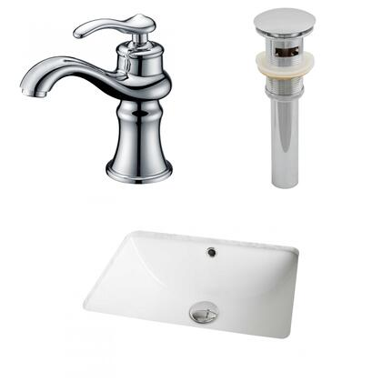 AI-12959 18.25-in. Width x 13.5-in. Diameter CUPC Rectangle Undermount Sink Set In White With Single Hole CUPC Faucet And