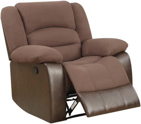U98243-D128-CHOCOLATE PU-R 40 inch  Recliner with Plush Padded Arms and Waterfall-style Seatback in Chocolate