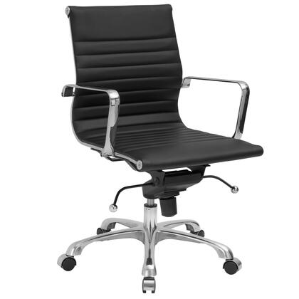 EM-161-BLK Ribbed Office Chair in