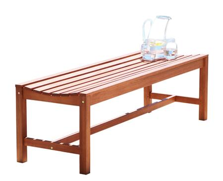 V1640 Malibu Eco-Friendly 4-Foot Backless Outdoor Hardwood Garden Bench  Natural