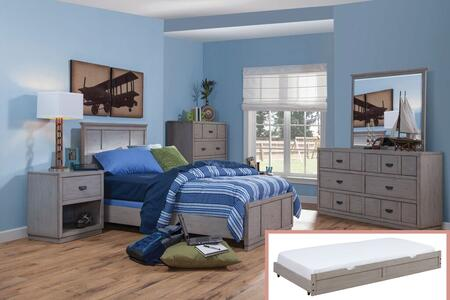 Provo Youth Collection 7300-46PAN-TRN-NSMRDRCD 5-Piece Bedroom Sets with Full Panel Bed  Nightstand  Mirror  Dresser and Chest in Driftwood