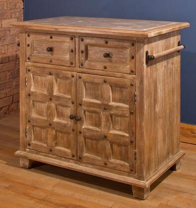 5731-895 Millstone 38 Wide Kitchen Island With 2 Doors  2 Drawers  Light Grey Marble Top And Mango Wood Construction In Antique Beige