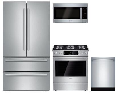 4-Piece Kitchen Package with B21CL81SNS 36 inch  Counter Depth French Door Refrigerator  HGI8054UC 30 inch  Slide-in Gas Range  HMV5053U 30 inch  Over the Range Microwave