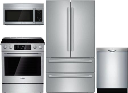 4-Piece Kitchen Package with B21CL81SNS 36 inch  Counter Depth French Door Refrigerator  HEI8054U 30 inch  Slide-in Electric Range  HMV3053U 30 inch  Over the Range Microwave
