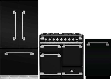 3-Piece Black Kitchen Package with MELFDR23BLK 36 inch  French Door Refrigerator  AEL48DFBLK 48 inch  Freestanding Dual Fuel Range  and AELTTDWBLK 24 inch  Fully Integrated