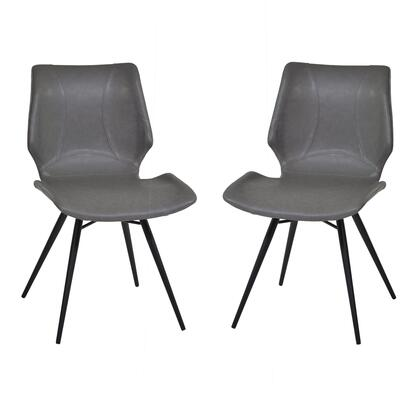 LCZUSIVGBL Zurich Dining Chair in Vintage Gray Pu and Black Metal Finish (Set of