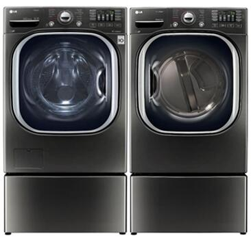 Black Stainless Steel Front Load Laundry Pair with WM4370HKA 27