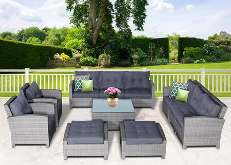 Stamford Collection STFD-1009G 11 Piece Olefin Conversation Set with 2x Left Arm Chair  2x Right Arm Chair  2x Armless Chairs  2x Armchairs  2x Ottomans and
