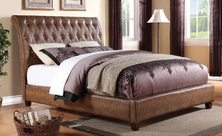Pitney Collection 22847EK King Size Bed with Crystal Like Button Tufted Headboard  Low Profile Footboard  Pine Wood Construction and Bycast PU Leather