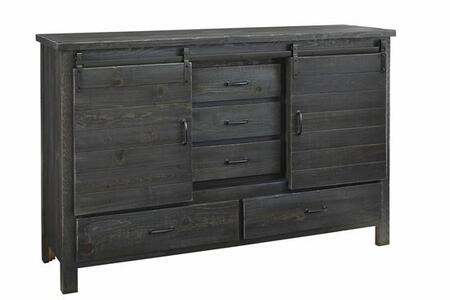 Lucerne B656-24 Door Dresser with 5 Drawers  2 Sliding Barn Doors and Simple Pulls in