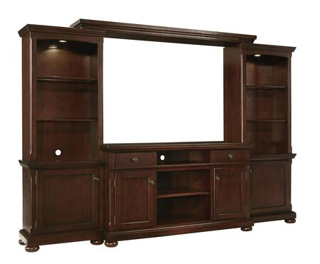 Porter Collection W697132ENT 114 inch  4-Piece Entertainment Center with TV Stand  Left Pier  Right Pier and Bridge in Rustic