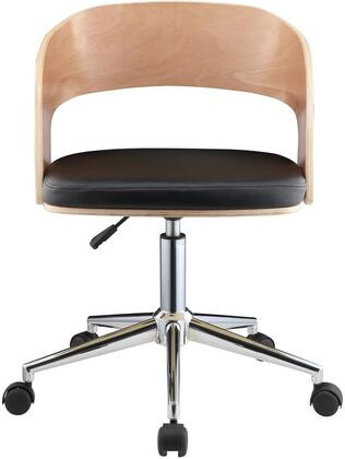 Yoshiko Collection 92514 Office Chair with 360 Degrees Swivel Seat  Adjustable Height  Chrome Metal 5-Star Base  Bucket Shape Backrest  PU Leather and Wood