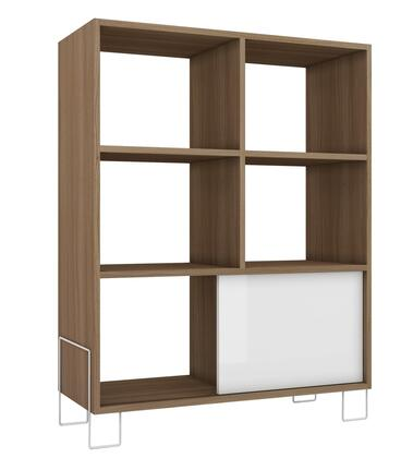 Boden Collection 8AMC47 32 inch  Mid-High Side Stand with Open Shelves  Modern Feet Design and Sliding Door in Oak and