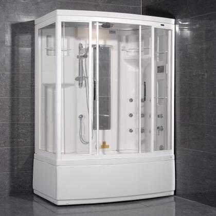 ZAA208-L Steam Shower with Whirlpool Bath  White  9 Body Jets  1 Built-In Seat  12V Light  Storage Shelves  Mirror - Left