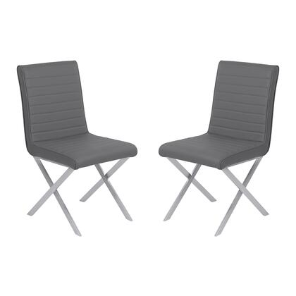 Tempe Collection LCTESIGRBS Contemporary Dining Chair in Gray Faux Leather with Brushed Stainless Steel Finish - Set of