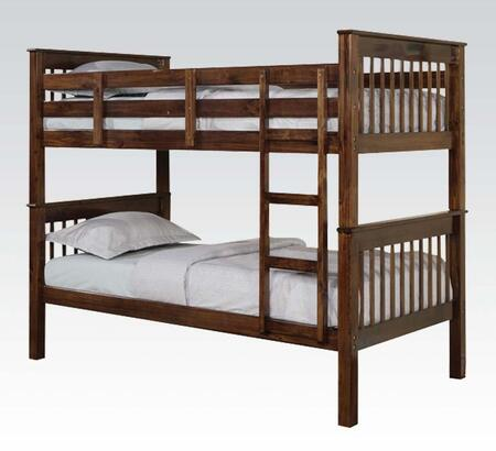 Haley Collection 02415 Twin Over Twin Size Bunk Bed with Fixed/Built in Ladder  Slat System Included  Bunkie Board Recommended  Pine Wood and Plywood