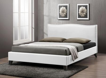 CF8276-FULL-WHITE Baxton Studio Battersby Modern Bed With Upholstered Headboard - Full Size  In