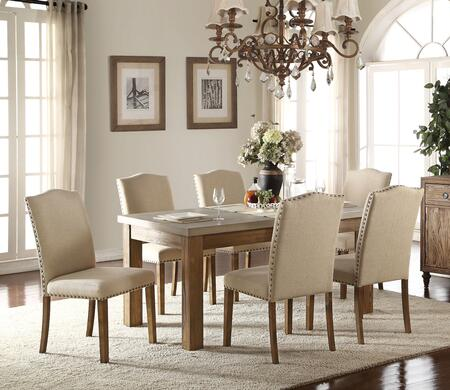 Parker Collection 71740SET 7 PC Dining Room Set with Dining Table + 6 Side Chairs in Salvage Oak