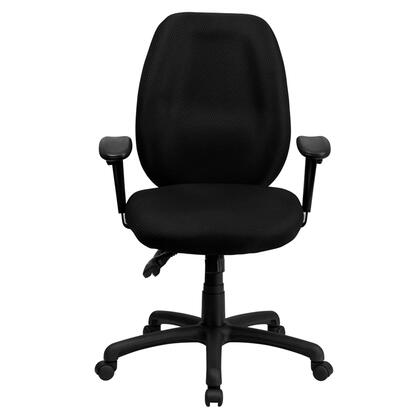 BT-6191H-BK-GG High Back Black Fabric Multi-Functional Ergonomic Task Chair with