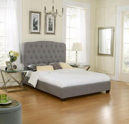 Lillian Collection HC8954A2 Queen Size Upholstered Platform Bed with Tufted Headboard  Linen Material and Modern Style in