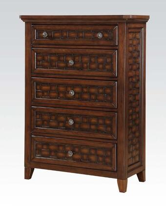 Carmela Collection 24786 36 inch  Chest with 5 Drawers  Metal Hardware  Wood Grid Design and Wood Construction in Walnut