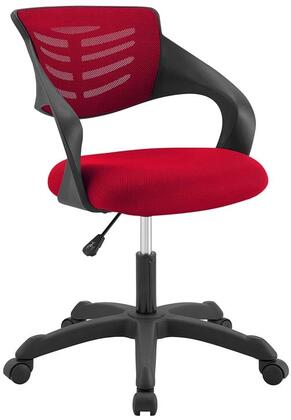 Thrive Collection EEI-3041-RED Office Chair with 360-Degree Swivel Seat  5 Dual-Wheel Casters  Adjustable Height  Mesh Backrest  Durable Nylon Frame and Fabric